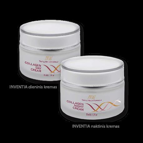 Dieninis ir naktinis kremai, su natūraliu INVENTIA® kolagenu, 2 x 50 ml