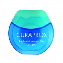 Tarpdančių siūlas (su pastorinta dalimi implantams ir breketams) CURAPROX DF 845, 50m.
