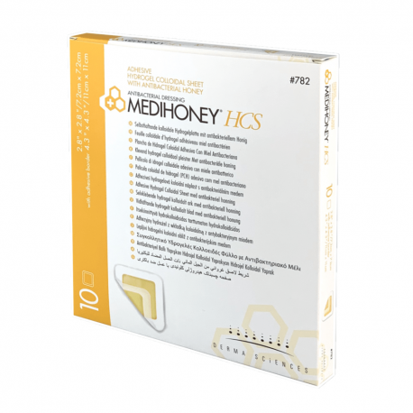 Medihoney™ HCS hidrogelio tvarstis vidaus 7,2x7,2cm, išorinis 11x11cm (10 vnt./pak.)