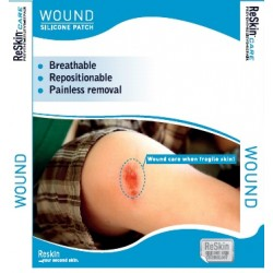 "Silikoninis pleistras žaizdoms (5x25 cm) ""ReSkin WOUND Silicon Patch"", 1 vnt. (Reskin Medical NV, Belgija)"